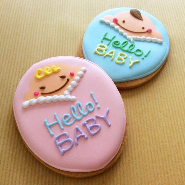 オンライン商品)名前と日付が入る♪おくるみ赤ちゃんクッキー