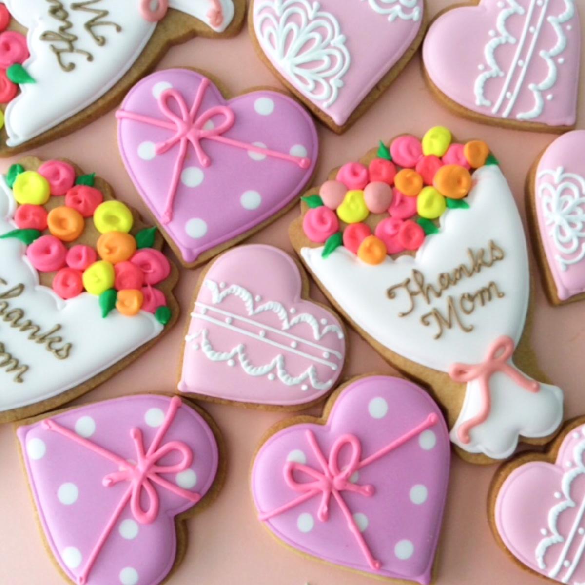 【Gallery】母の日2014 ブーケとハートのアイシングクッキー